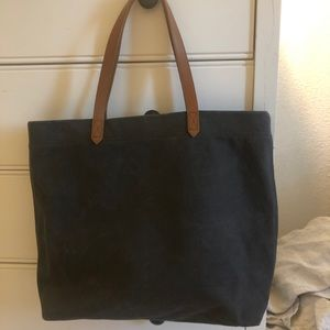 Blue canvas transport tote